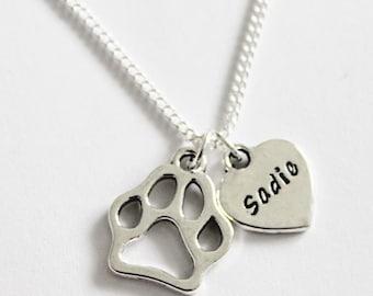 Dog Necklace. Personalized Dog Necklace. Dog Paw. Heart. Dog Paw Necklace. Dog Owner. Dog Lover Necklace. Dog Memorial Necklace. Dog. Puppy.