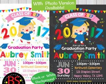 Graduation Party Invitation, Kindergarten Graduation invite, Preschool  Graduation Announcement, Pre K , Elementary, High School