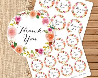 Printable Thank You Round Favor Tags Blush Pink Watercolor Floral for Wedding Baby Shower Bridal Shower Instant Download