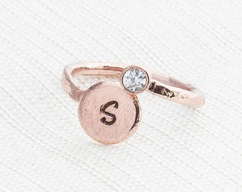 Rose Gold initial Ring & Cubic Zirconia, Monogram Ring, Rose gold Ring, One size fits all