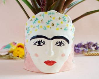 Frida Kahlo ceramic planter Sale -20% Porcelain vase Face plant pot Handbuilt statement pottery