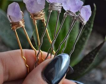 Amethyst Crystal Hair Pins, Bridal Hair Accessories, Purple Wedding Hair Pins