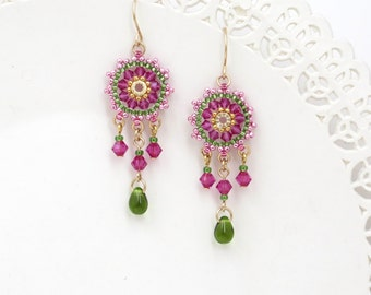 Boho earring, Wife gift, Romantic earrings, Colorful earrings, Bright earring, Chandelier earring, Beaded dangle earrings, Pink gold earring