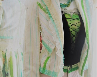 Size 7/8. Ivory lime green tattered shabby chic funky repurposed 1920's flapper repurposed 3 peice wedding outfit