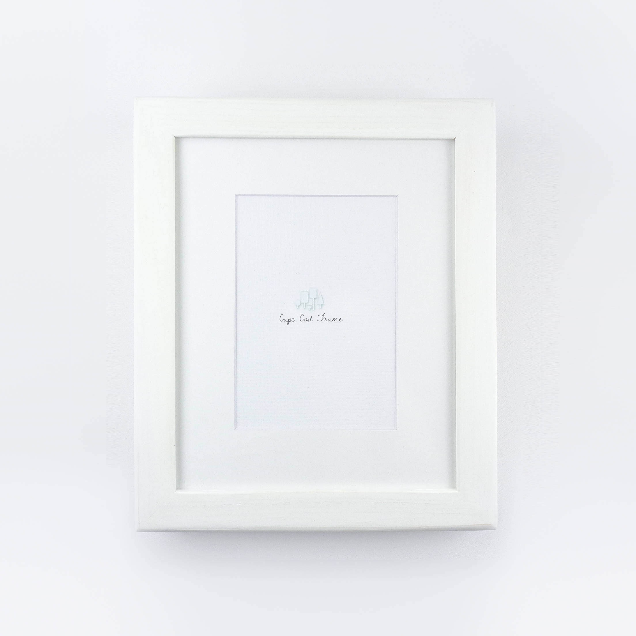 White wooden picture frame with softened edge rustic frame 5x7 white mat sold by capecodframe jeuxipadfo Choice Image