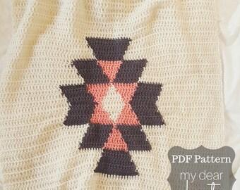 Tribal Crochet Blanket Pattern/ Aztec Tribal Pattern/ Tribal Blanket Pattern