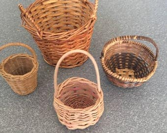 set of four small vintage baskets, wicker baskets