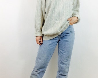 Grey cashmere sweater cream cable knit sweater cashmere cableknit sweater womens boxy sweater cableknit cashmere sweater mens medium sweater