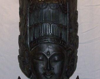 Large Apsara Painted Mahogany Indonesian Sculpture