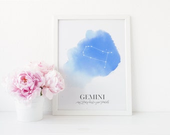 Gemini Horoscope Constellation Print | Gemini Astrology Zodiac Watercolor Art Poster Print