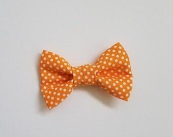 Orange & White Polka Dot Bow Tie, Baby Toddler Boy Clip-on Bow Tie, Custom Bowtie, Baby Shower, Baby Gift, Baby pictures, Formal Wear,Dapper