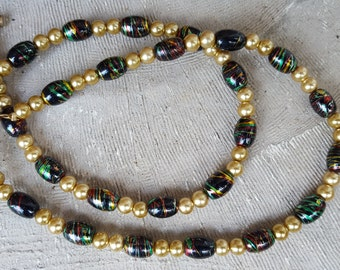 Faux Pearl and Striped Glass Bead Necklace