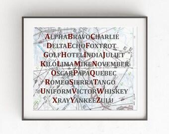 Phonetic Alphabet Map Art Print, Aviation Decor, Red and Grey Nursery Decor, Aviation Nursery, Future Pilot Gift, Aviation Nursery Wall Art