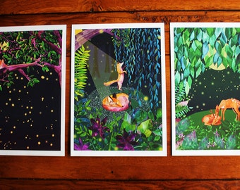 Enchanted Woods - Set of 3 A4 Artists Prints