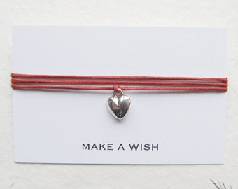 Make a wish bracelet, friendship bracelet, wish bracelet, heart bracelet, W43