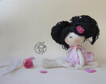 Doll Marshmallow - knitting pattern (knitted round).Doll pattern.Amigurumi Doll.