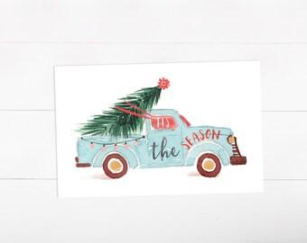 Tis the Season Christmas Card, Holiday Card Set, Christmas Tree, Pick up Truck (9)