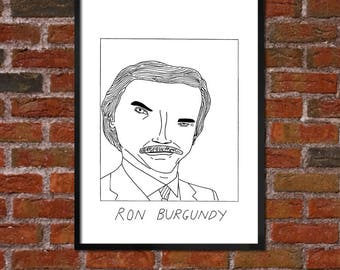 Badly Drawn Ron Burgundy - Poster - *** BUY 4, GET A 5th FREE***