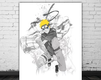 Naruto Art, Anime Gift, Japanese Watercolor Manga Art, Naruto Shippuden Cartoon Art, Uzumaki Ninja Warrior Naruto Poster, Gray Art Smoke Art