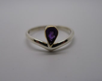 Amethyst MakeAWish TuttiFrutti ring, Make A Wish style form my Tutti Frutti collection. Gold and silver Gemset handmade rings.