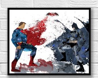 Batman vs Superman Watercolor Print, Batman Art, Superman Art, Movie Poster, Superhero Print, Home Decor, Kids Room Decor - 271