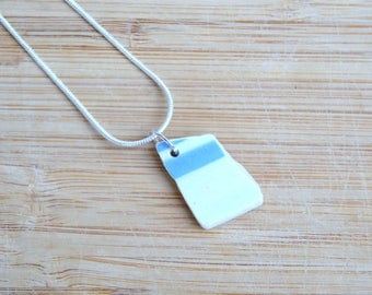 Sea China Pendant, Upcycled Pottery Necklace, Seaside Jewellery, 9th Anniversary Gift for Her, Unique Gift, Sea Pottery, Beach Pottery