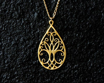 14k gold Tree of Life necklace, solid gold Tree of Life pendant, Tree of life jewelry, Tree of Life charm, Celtic jewelry, spiritual gifts