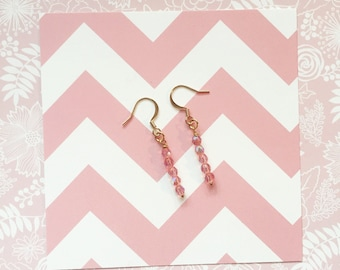 Pink and Gold Earrings | Minimalist Jewerly | Gifts under 20 | Dainty Earrings | Long Drop Earring | Bridesmaid Jewelry Set | Back to School
