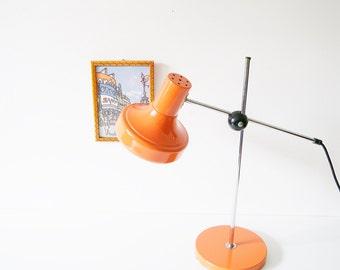 Table lamp, 70s desk lamp metal orange, height adjustable, retro lamp, space age design