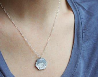 Silver Foil Hexagon Necklace, Hexagon Pendant Necklace, Minimal Dainty Silver Layering Necklace, Delicate Silver Necklace, Geometric Jewelry