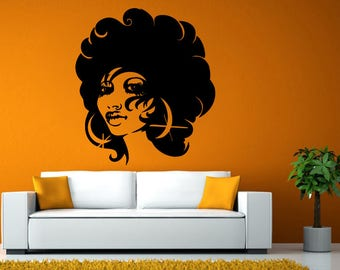 African Girl Woman Afro Hair Cut Style Salon Wall Stickers Decals Vinyl Mural Decor Art L2126