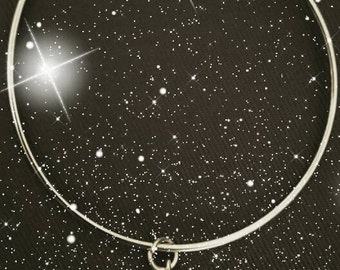 Stainless steel silver seahorse charm bangle bracelet UK