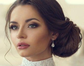 Silver drop bridal earrings - teardrop wedding earrings - bridal jewelry - Avery earrings