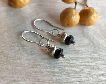 Onyx & Pyrite earrings  Dangle earrings  Sterling silver earrings Natural stone earrings  Artisan earrings  Handmade earrings (#21)