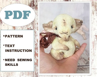 PDF pattern + instructions teddy baby elephant, sewing tutorial, miniature fur soft toy, stuffed animals, cute critters, kawaii toys
