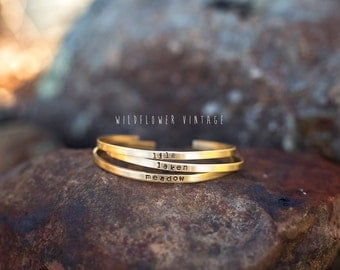 Skinny Personalized Stacking Cuff Bracelet | Brass Copper Silver Name Jewelry Mother's Day Baby Shower Gifts for New Mom