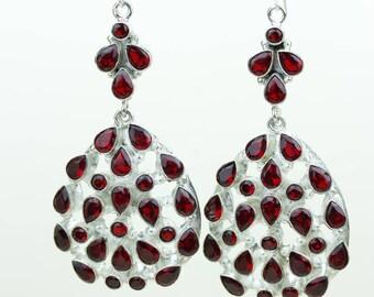 Garnet 925 SOLID (Nickel Free) Sterling Silver Italian Made Dangle Earrings e687