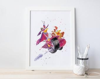 Darkwing duck, FREE, and watercolor heart, kidsroom, cartoon art, boys, superhero, Nursery Art, Kids Bedroom Playroom PRINTABLE Hand drawing