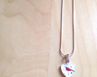NECKLACE - Heart red bird - tattoo handpainted by heart of exception