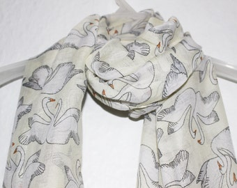 Swan Scarf, Cream Bird Scarf, Womens Gift, White Birds, Spring, Summer Scarf, Swans, Cream Accessories, Scarves, For Her, Off White