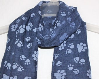 Paws Scarf, Blue Paw Scarf , Womens Gift, Dog Lover, Gift For Her, Spring Summer Scarf, Fashion Accessory, Animal Scarf, Paw Scarf, Scarves