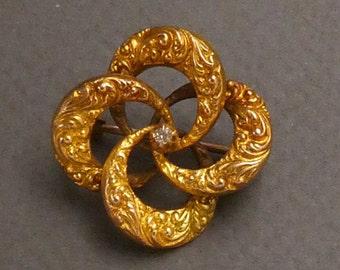 14K Diamond Knot brooch