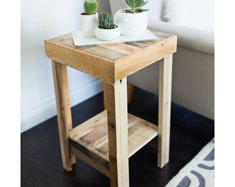 beautiful recycled wood reclaimed nightstand end accent entry table night stand