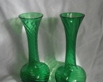 Pair of Art Deco Swirly Green Glass Bud Vases Hand-blown