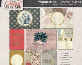 Whimsical Alice In Wonderland Journal Cards, Printable Sheet, Instant Download, Project Life Digital Scrapbook Supplies, Drink Me Eat Me