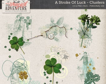 Lucky Clover, St Patty, St Patrick's Day, Digital Overlays Downloads, Shamrock Mixed Media Clusters, Digital Scrapbooking Embellishments