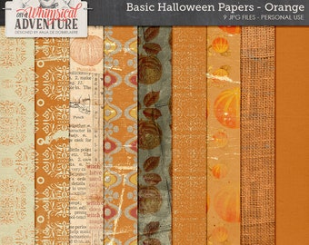 Paperpack Halloween, digital scrapbooking, digital download, scrapbook papermix, patterns, solids, cardstock orange, Halloween backgrounds,