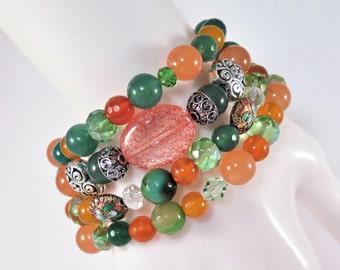Orange and Green jade Bracelets,orange jade bracelets,green jade bracelets,orange agate bracelets, stacking stretch bracelets  #117B