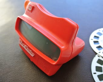 Vintage Viewmaster, Viewmaster With Reels, Red Viewmaster, 6 Viewmaster Reels, 1980s Viewmaster