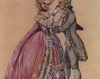 "K Somov ""The Lady and the Cavalier"" 1903 Digital Download Couple in 1800's Period Clothing Printable Art Scrapbooking Commercial Use"